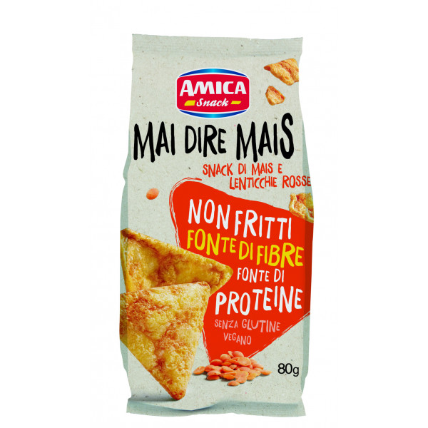 Gluten-free and Vegan snack with Corn and Red Lentis (80g) - Amica Chips
