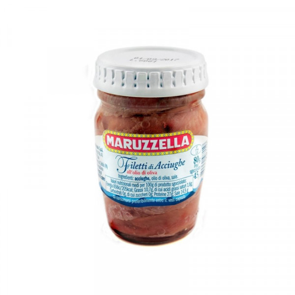 Anchovy fillets in olive oil-80g-Maruzzella-anchovy-anchovy in olive oil-italian anchovies