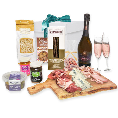 Italian dinner-date-dinner-romantic italian dinner-cheese-prosecco-romantic dinner box-dinner hamper-box-hamper