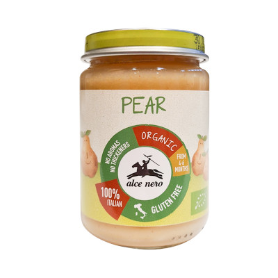 organic pear purée baby-baby food-alce nero-140g-purée baby-organic purée