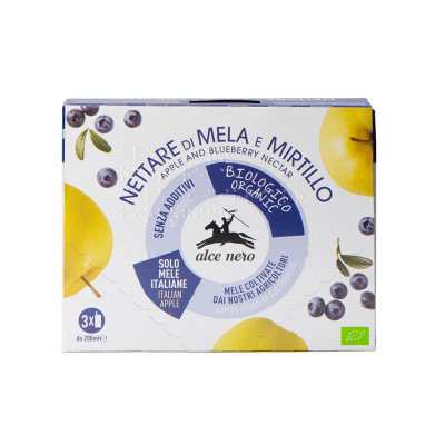 organic nectar-nectar-apple and blueberry nectar-3x200ml-alce nero-nettare di mela e mirtillo
